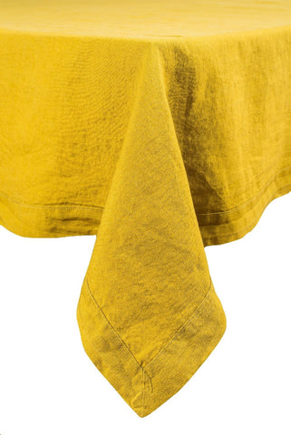 Harmony - Serviette de table en lin lavé Nais - Jaune Absynthe - 41x41 cm - Home Beddings and Curtains
