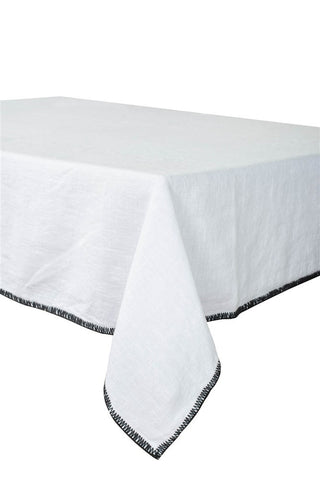 Harmony - Serviette en lin lavé carrée Letia blanche - 100% Lin - 41x41 cm - Home Beddings and Curtains