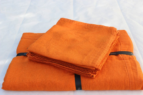 Harmony - Serviette de table en lin lavé Nais - orange abricot - 41x41 cm - Nappe enduite