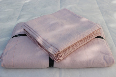 Harmony - Serviette de table en lin lavé Nais - Rose Poudre - 41x41 cm - Home Beddings and Curtains