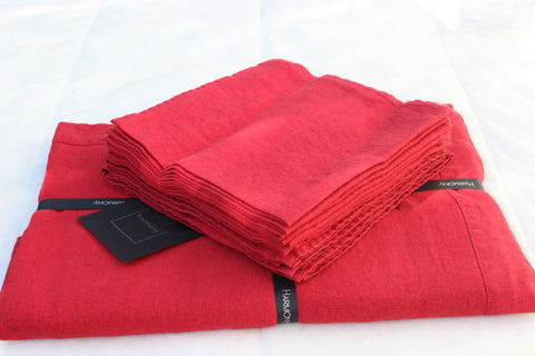 Harmony - Serviette de table en lin lavé Nais - Rouge - 41x41 cm - Home Beddings and Curtains