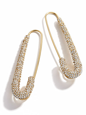 Clear Small Pavé Safety Pin Earrings - BaubleBar x Montserrat Capsule Collection