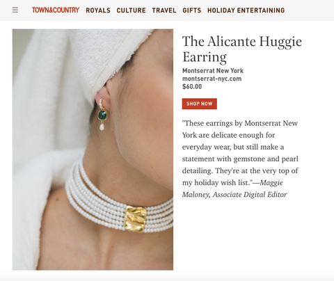 Montserrat New York's Alicante Huggie Earrings in Town & Country's Weekly Covet: Holiday Wish List 2019 by Maggie Maloney