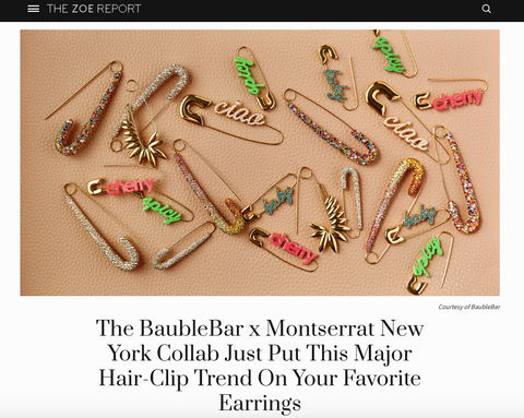 The Zoe Report Montserrat New York x BaubleBar Capsule Collection Safety Pin Earrings