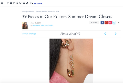 Ciao Safety Pin Earring Monsterrat New York x BaubleBar in Pop Sugar Editor Summer Picks