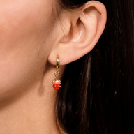 Maresme Hoop Earrings by Montserrat New York featuring strawberry enamel charm - Made in NYC