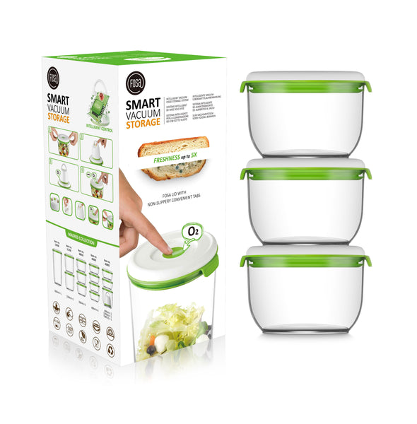 FOSA Food Storage set of 3 Medium vacuum canisters