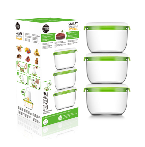 FOSA Vacuum Food Storage - Madrid Collection - Additional Container Set - 3 x 850 ml (Item No. MC30850)