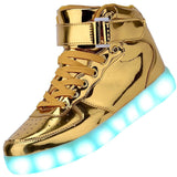 led light up in the dark gold high top shoes