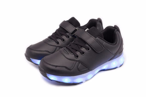 kids led shoes low top black hock and loop scotch for easy tie of the shoe