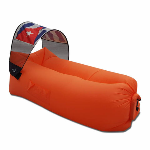 orange inflatable lazy bag with cuba canopy flag cover