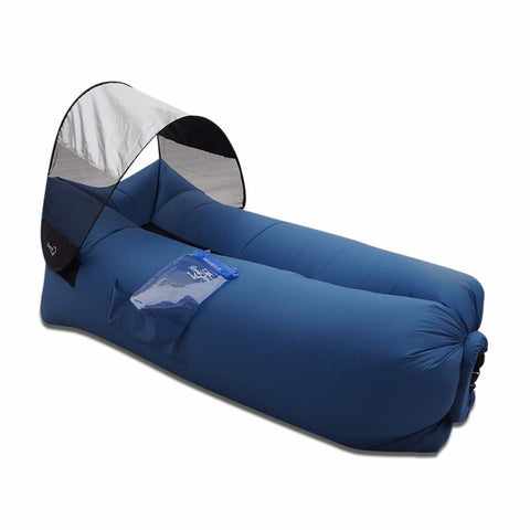inflatable couch lazy bag sofa blue color with canopy and iphone pocket