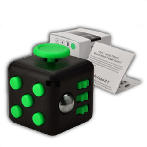 green and black fidget cube help relive stress and anxiety