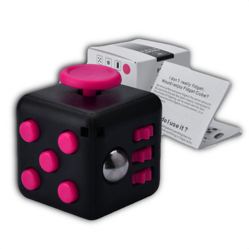pink and black fidget cube help to lower affect of adhd
