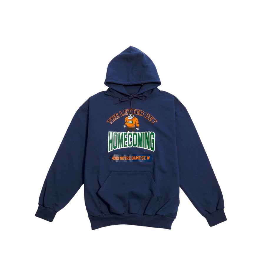 HOMECOMING NAVY HOODIE - The Letter Bet