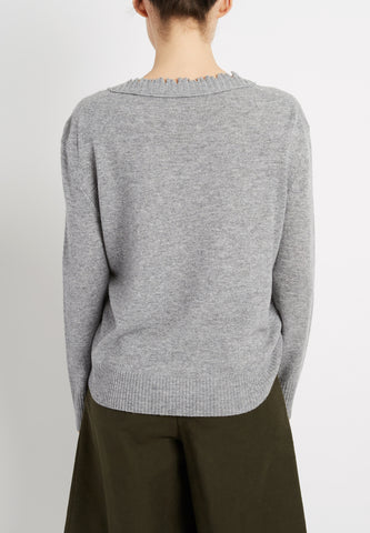 Cashmere Blend Distressed Sweatshirt