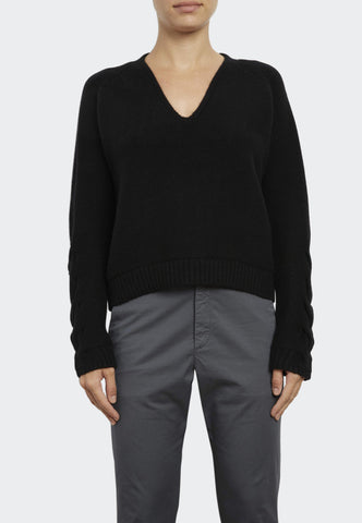 Luxe Cashmere V-Neck with Cable Knit Sleeve