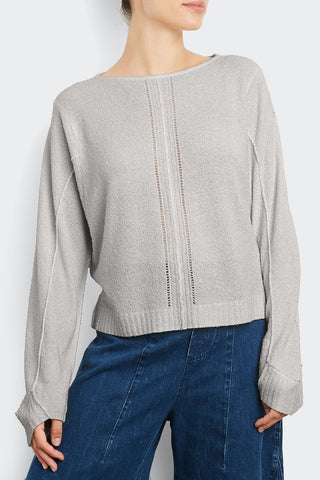 Cotton Blend Pointelle Sweatshirt