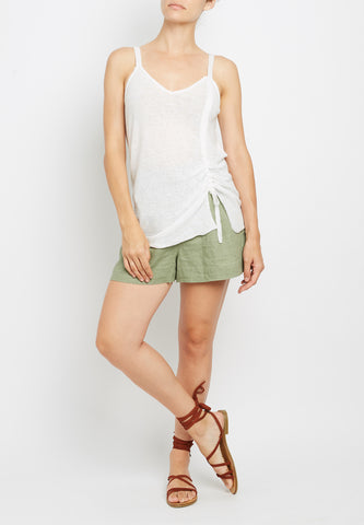 100% Linen Ruched Camisole