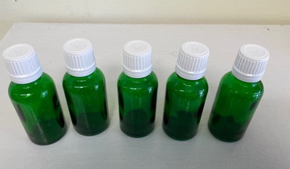 1 oz green essential oil bottle with eurodrop tamper evident cap bundle of 5 units