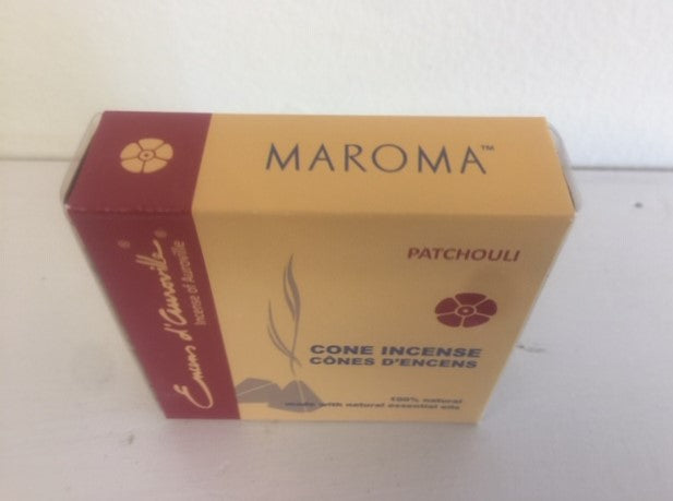 Maroma Patchouli Cone Incense 100% Natural Made with Natural Essential Oils, 10 cones