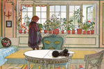 Flowers on the Windowsill by Carl Larsson - Peaceful Wooden Jigsaw Puzzles