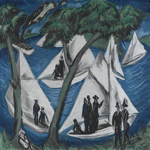 Sailboats In Grunau by Ernst Ludwig Kirchner