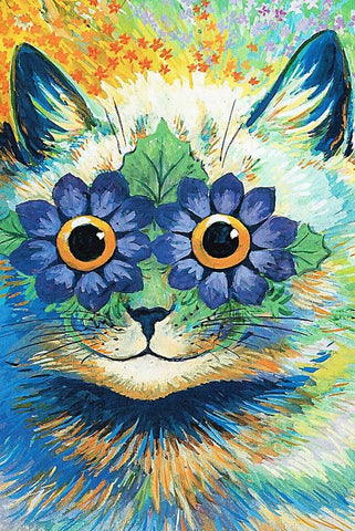 Flower Power Cat by Louis Wain - Peaceful Wooden Jigsaw Puzzles