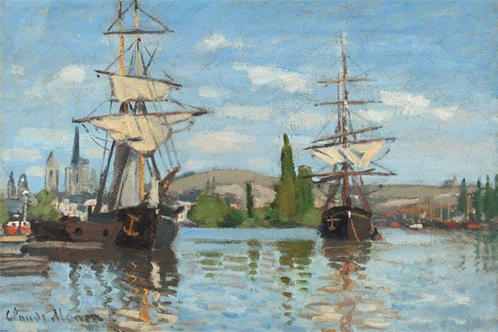 Ships Riding on the Seine at Rouen by Monet - Wooden Jigsaw Puzzles for Adults