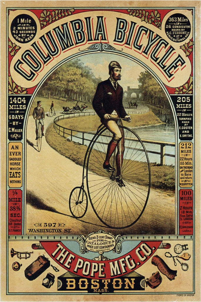 Vintage Columbia Bicycle Boston Advertisement Poster - Peaceful Wooden Puzzles