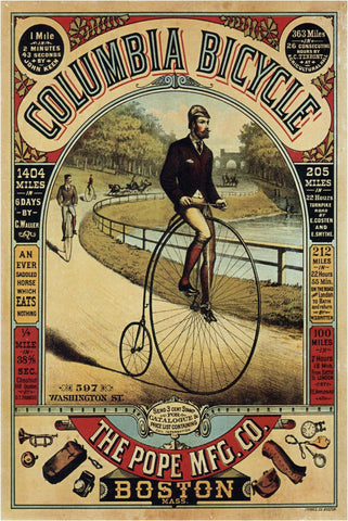 Vintage Columbia Bicycle Boston Advertisement Poster - Wooden Jigsaw Puzzles for Adults