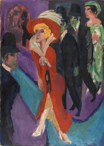 Street with Red Streetwalker Ernst Ludwig Kirchner - Wooden Jigsaw Puzzles for Adults