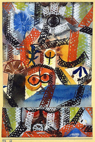 Barbaric Composition by Paul Klee Wooden Jigsaw Puzzle