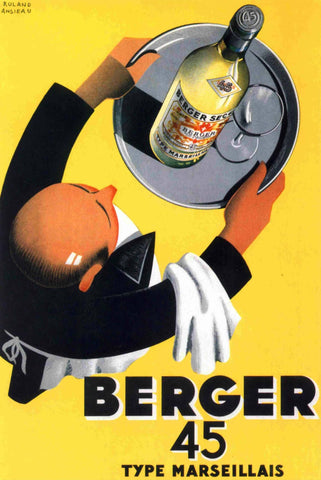 Vintage Berger 45 French Wine Advertisement Poster - Wooden Jigsaw Puzzles for Adults