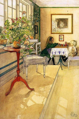 The Chess Game by Carl Larsson