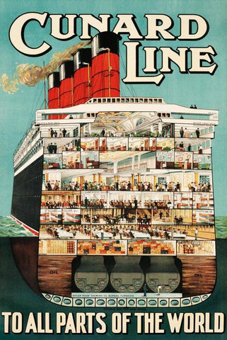 Cunard Line Cruise Vintage Travel Poster - Peaceful Wooden Puzzles