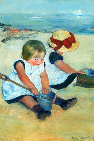 Children Playing on Beach by Mary Cassatt - Wooden Jigsaw Puzzles for Adults