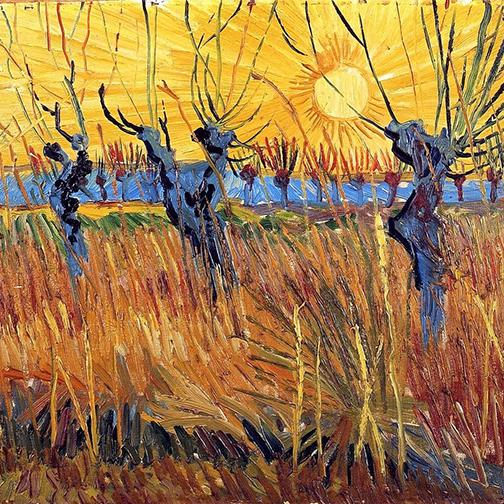 Pollard Willows at Sunset by Van Gogh - Peaceful Wooden Puzzles