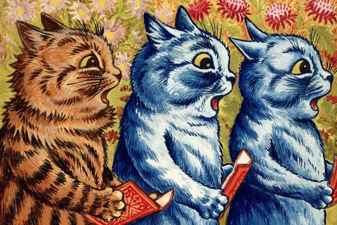 Three Cats Singing by Louis Wain - Peaceful Wooden Jigsaw Puzzles