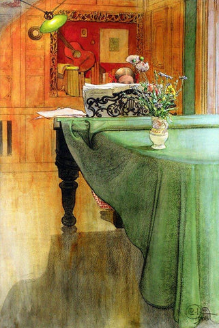Young Girl at the Piano by Carl Larsson - Wooden Jigsaw Puzzles for Adults
