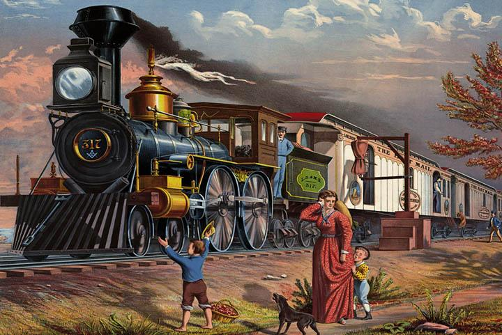 The Fast Mail Train Railroad Poster - Peaceful Wooden Puzzles