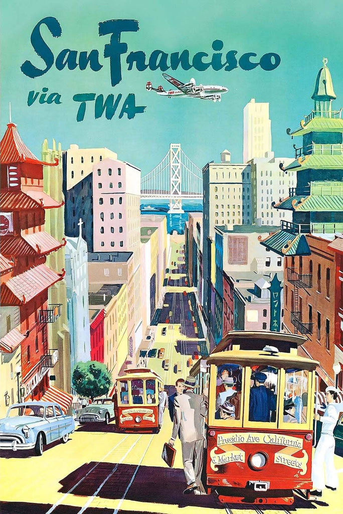 San Francisco Travel TWA Airline Vintage Poster