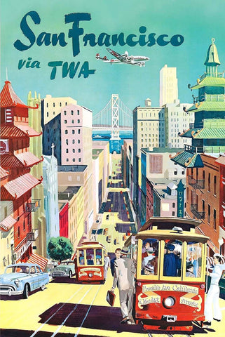 San Francisco Travel TWA Airline Vintage Poster - Wooden Jigsaw Puzzles for Adults