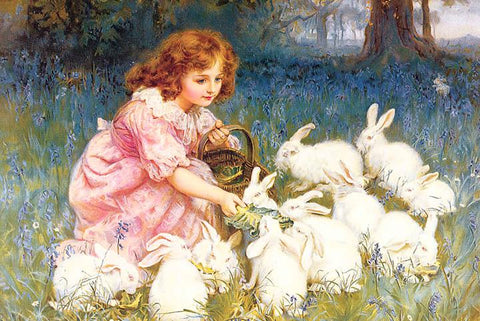Feeding the Rabbits by Frederick Morgan - Peaceful Wooden Jigsaw Puzzles