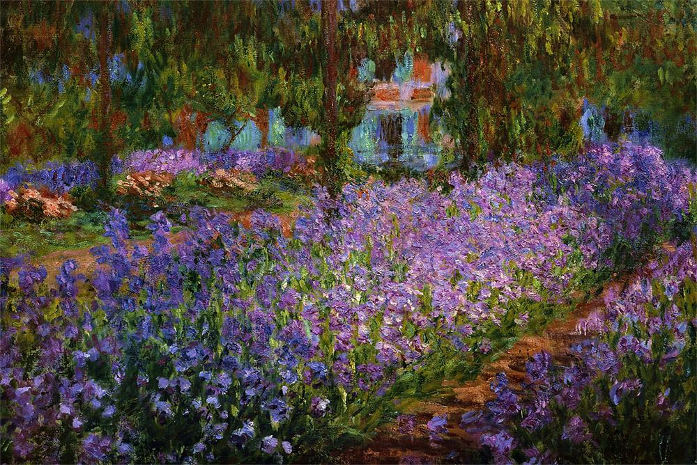 Artist's Garden at Giverny by Monet - Wooden Jigsaw Puzzles for Adults