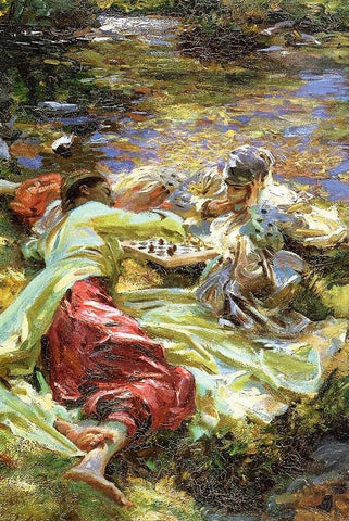 The Chess Game by John Signer Sargent - Peaceful Wooden Puzzles