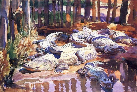 Muddy Alligators by John Signer Sargent - Peaceful Wooden Puzzles