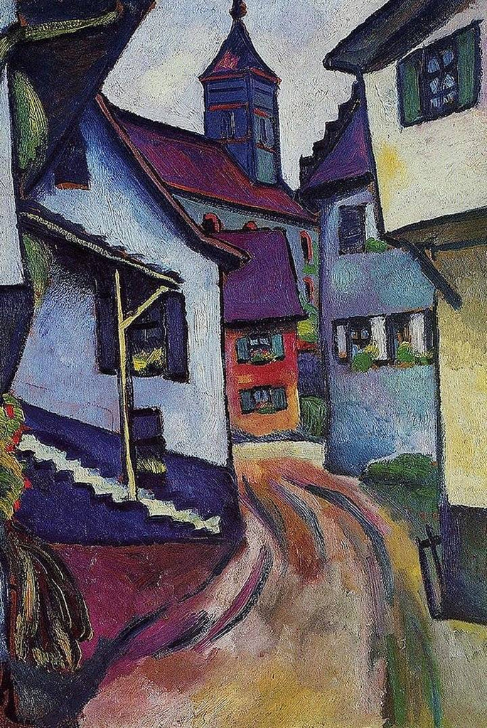 Street with Church in Kandern by August Macke - Wooden Jigsaw Puzzles for Adults