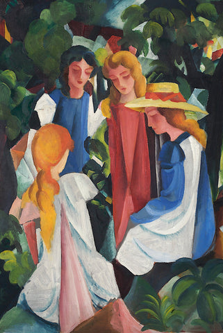 Four Girls by August Macke - Peaceful Wooden Puzzles