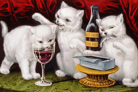 Three Jolly Kittens at the Feast Currier and Ives - Peaceful Wooden Jigsaw Puzzles